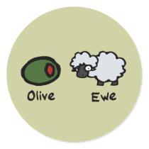 Olive Ewe Classic Round Sticker