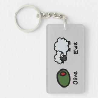 Olive Ewe Double-Sided Rectangular Acrylic Keychain