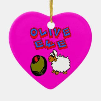 Olive Ewe, I Love You Ceramic Ornament