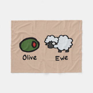 Olive Ewe (I Love You) Fleece Blanket
