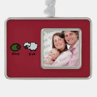 Olive Ewe (I Love You) Silver Plated Framed Ornament