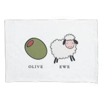 Olive Ewe Love Puns Pillow Case