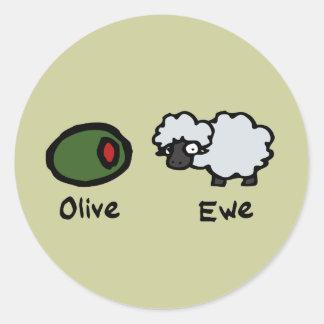 Olive Ewe Round Sticker