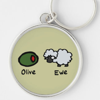 Olive Ewe Silver-Colored Round Keychain