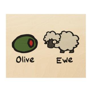 Olive Ewe Wood Canvas