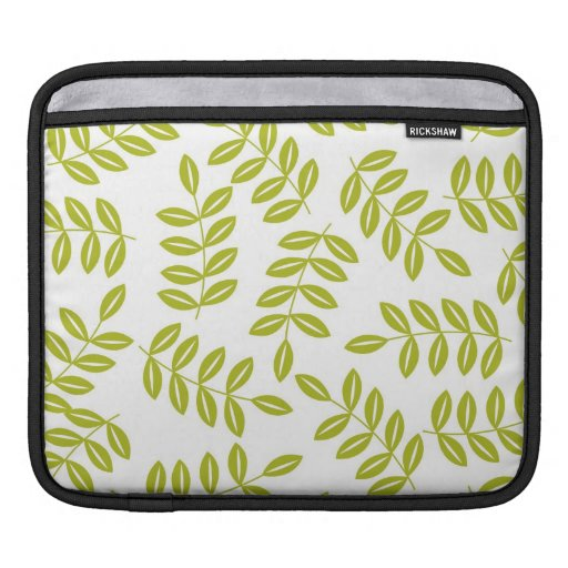 Olive fern on White Pattern Sleeves For iPads