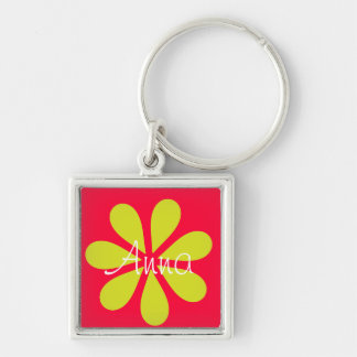 Olive flower on red keychain with your name