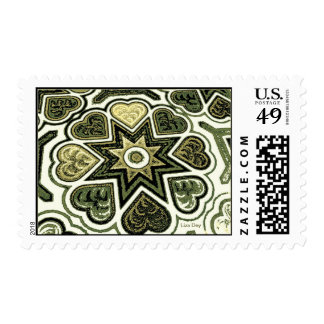 Olive Folk Art Hearts Postage