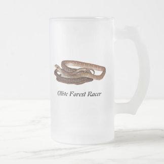 Olive Forest Racer Frosted Glass Beer Mug
