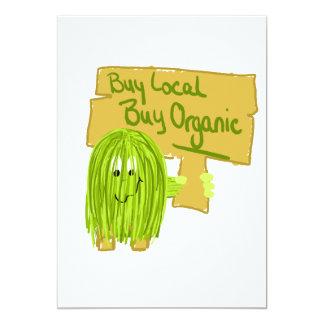 Olive Greeen Buy local Buy Organic 5x7 Paper Invitation Card