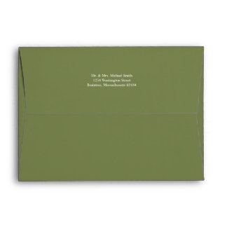 Olive Green A7 Envelope 5x7 with return address