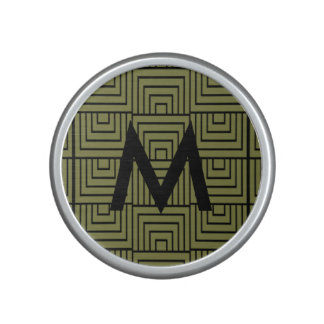 Olive Green Abstract Optical Pattern Monogram Bluetooth Speaker