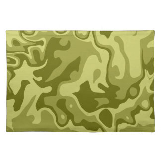 Olive green abstract pattern cloth placemat