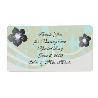 olive green and aqua aquamarine fleur damask shipping label