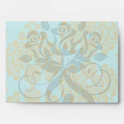 olive green and aqua blue fleur damask envelopes