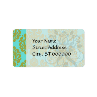 olive green and aqua blue fleur damask personalized address label