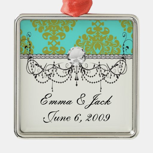 olive green and aqua blue fleur damask square metal christmas ornament