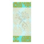 olive green and aqua blue fleur damask rack card