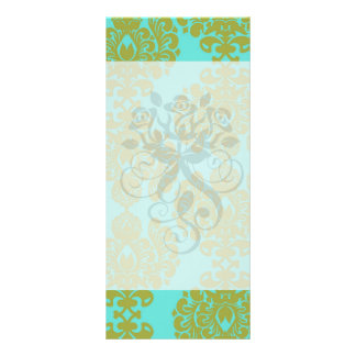 olive green and aqua blue fleur damask rack card design