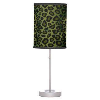 Olive Green and Black Leopard Animal Print Desk Lamp