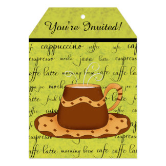 Olive Green and Brown Coffee Cup Art and Script 5x7 Paper Invitation Card