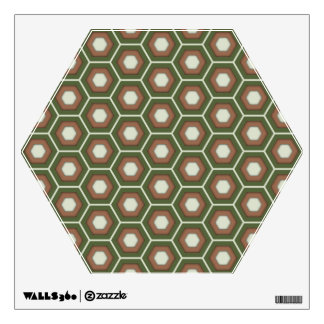 Olive Green and Brown Hex Tiled Wall Decal