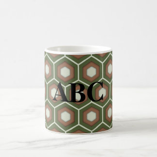 Olive Green and Brown Tiled Hex Mug