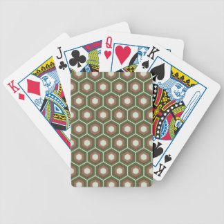 Olive Green and Brown Tiled Hex Playing Cards
