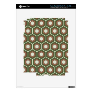 Olive Green and Brown Tiled Hex Tablet Skin Decal For iPad 3