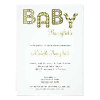 Olive Green And Chocolate Brown Baby Shower Invite