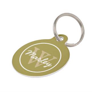 Olive Green and Classic Khaki Monogram Pet Tag