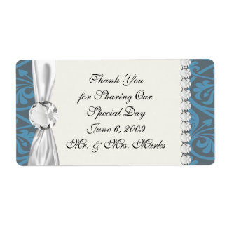 olive green and classy blue stripes damask-01 shipping label