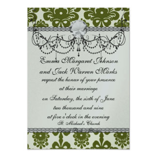 olive green and cream floral damask pattern card