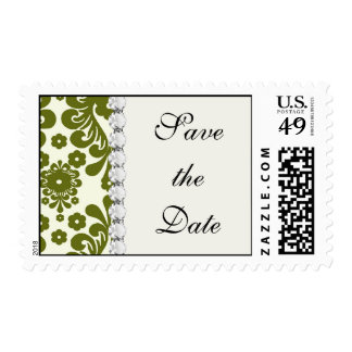 olive green and cream floral damask pattern postage