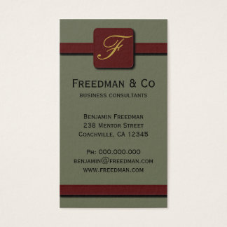 Olive Green and Dark Red Monogram Professional Business Card