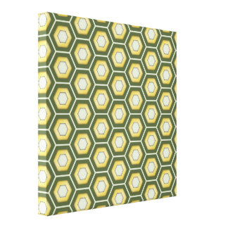 Olive Green and Gold Hex Tiled Canvas