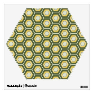 Olive Green and Gold Hex Tiled Wall Decal