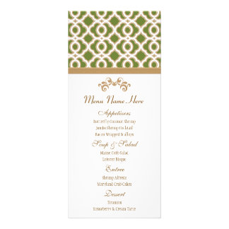Olive Green and Gold Moroccan Menu Custom Rack Cards
