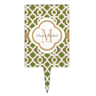 Olive Green and Gold Moroccan Monogram Couples Cake Topper