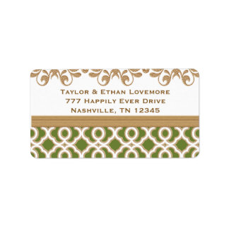 Olive Green and Gold Return Address Labels Custom