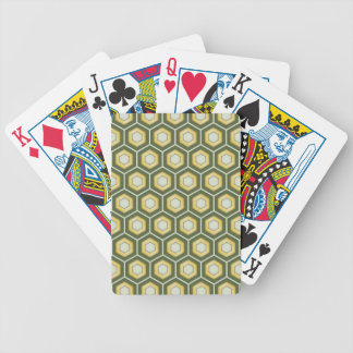 Olive Green and Gold Tiled Hex Playing Cards