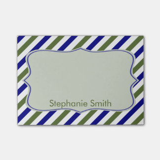 Olive Green and Navy Blue Oblique Stripes Pattern Post-it® Notes