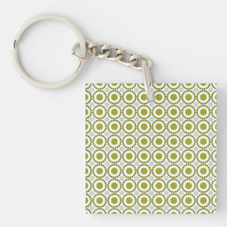 Olive green and pale blue retro pattern keychain