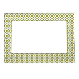 Olive green and pale blue retro pattern magnetic photo frame