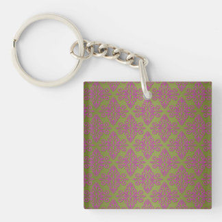 Olive Green and Pink Damask Pattern Keychain