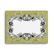 Olive Green and White A2 Gothic Baroque Envelopes