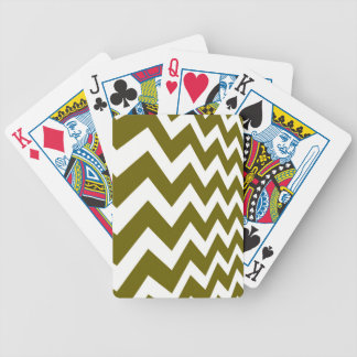 Olive Green and White Chevrons Bicycle Playing Cards