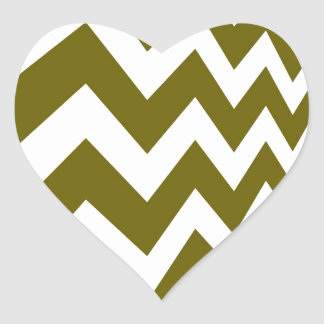 Olive Green and White Chevrons Heart Sticker