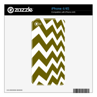 Olive Green and White Chevrons Skin For iPhone 4