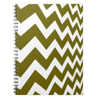 Olive Green and White Chevrons Spiral Notebook